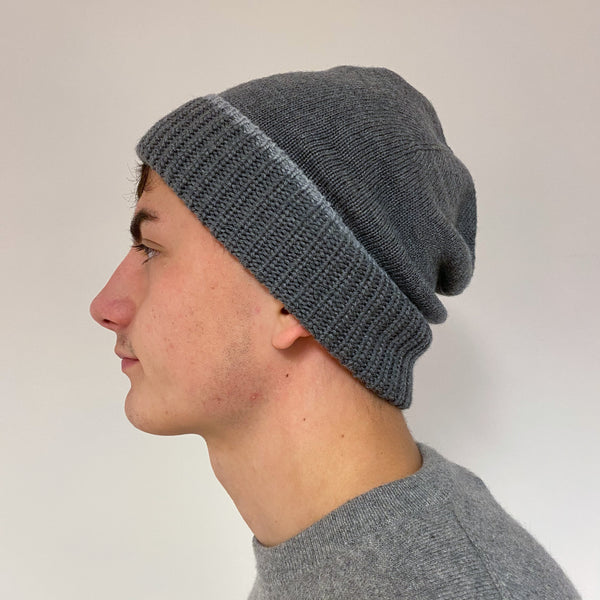 Men's Mid Grey Knit Beanie Hat