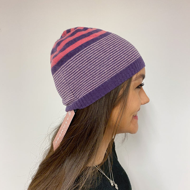 Pretty Striped Beanie Hat One Size