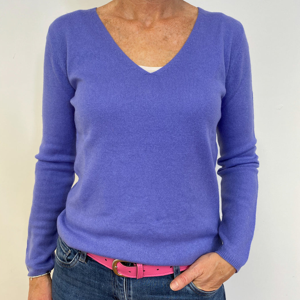 Indigo Purple V Neck Jumper Medium
