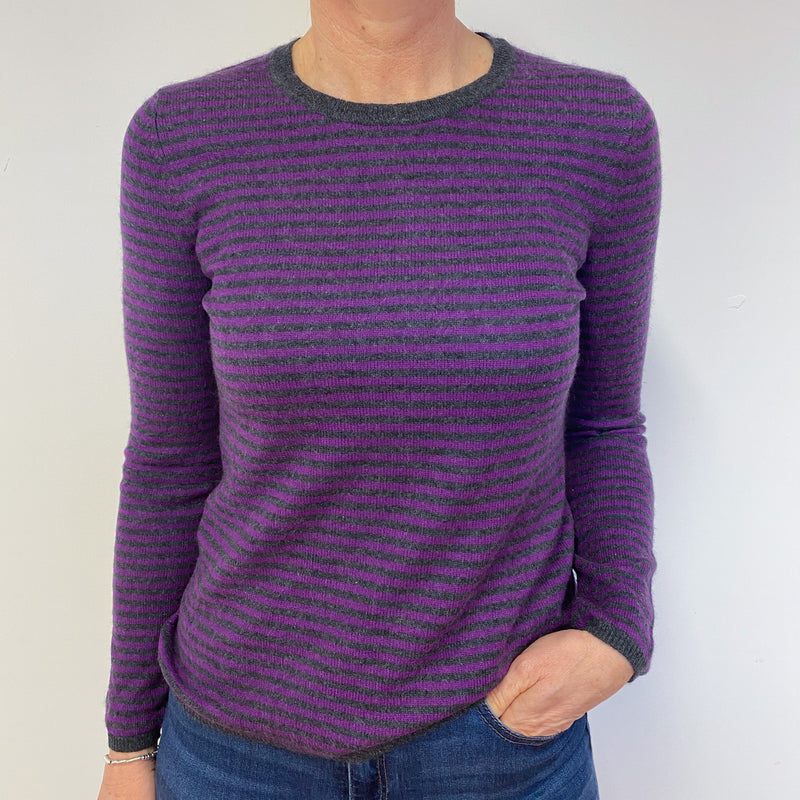 Purple and Charcoal Striped Crew Neck Jumper Medium