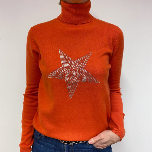 Ralph Lauren Sunburst Orange Polo Neck Jumper Medium