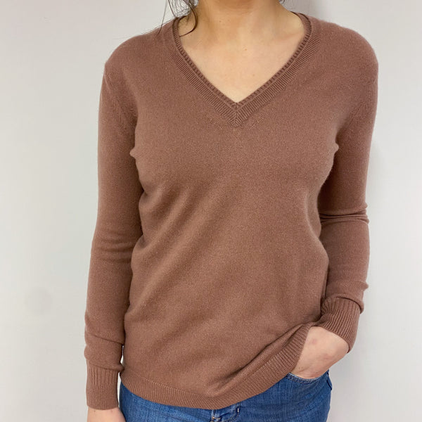 Mocha Brown V Neck Jumper Small