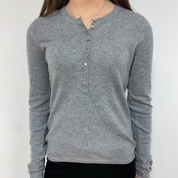 Mid Grey Button Detail Crew Neck Jumper Extra Small
