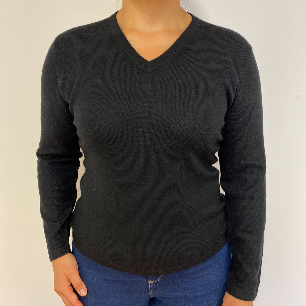 Black V Neck Jumper Medium