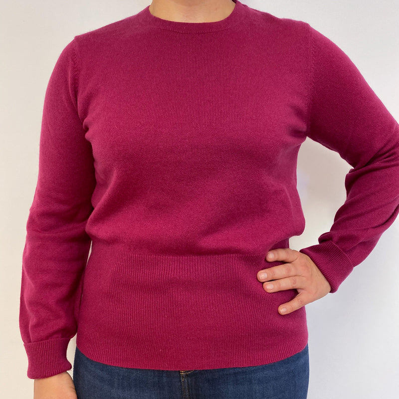 Dark Raspberry Pink Crew Neck Jumper Large