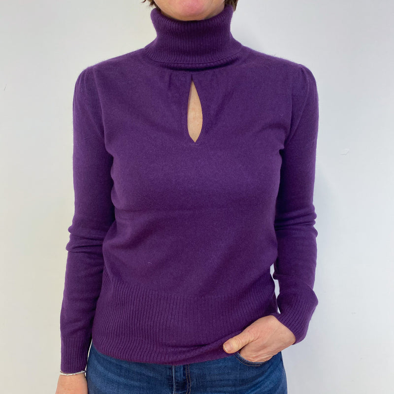 Plum Keyhole Polo Neck Jumper Medium