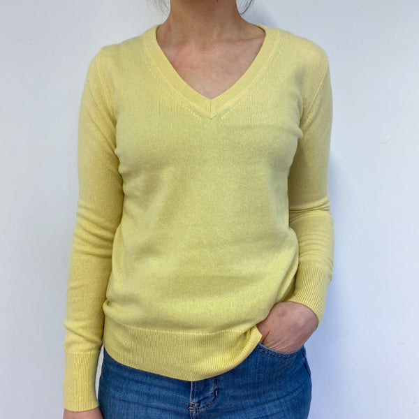 Lemon Yellow V Neck Jumper Small