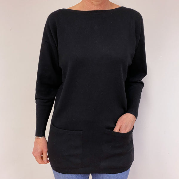 Black Buttoned Crew Neck Jumper Medium