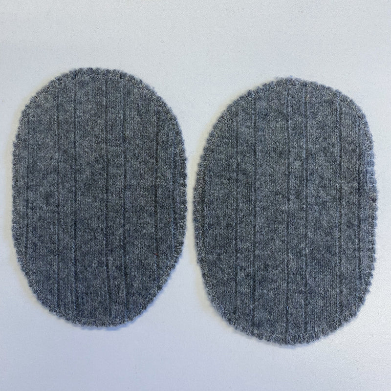 Large Slate Grey Ribbed Elbow Patches