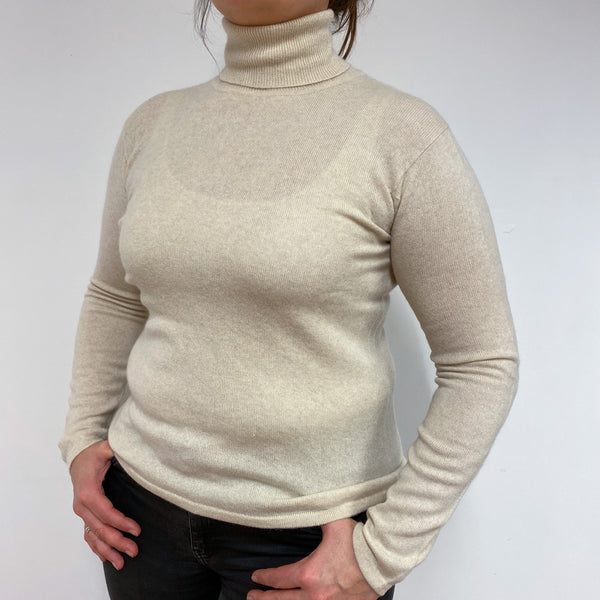 Pale Biscuit Polo Neck Jumper Large