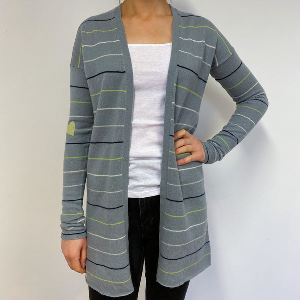 Longline Grey Striped Cardigan Small