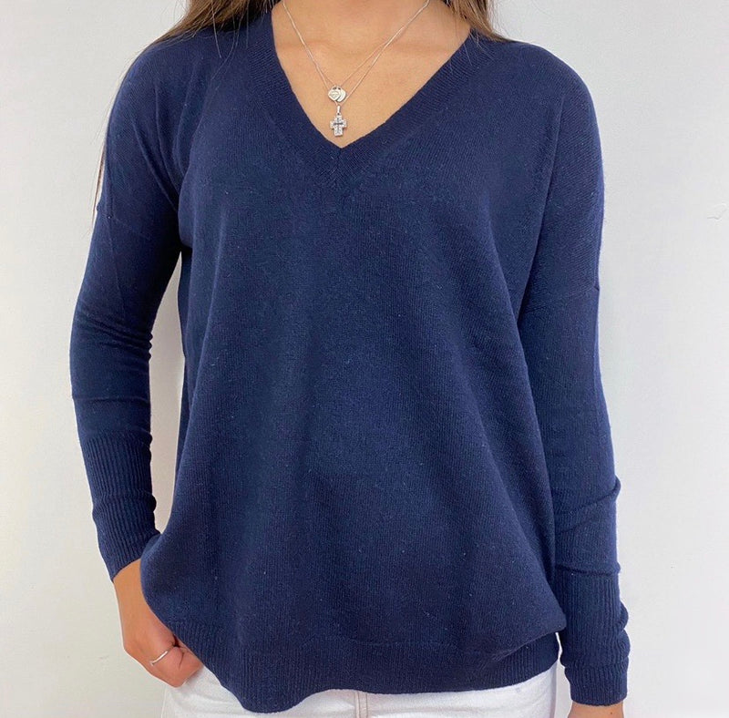 Navy Blue Tunic Style V-Neck Jumper XS