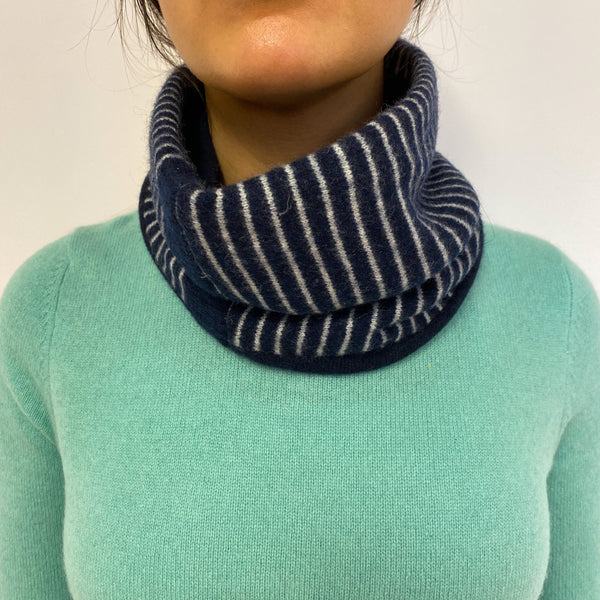 Reversible Navy Striped Neck Warmer