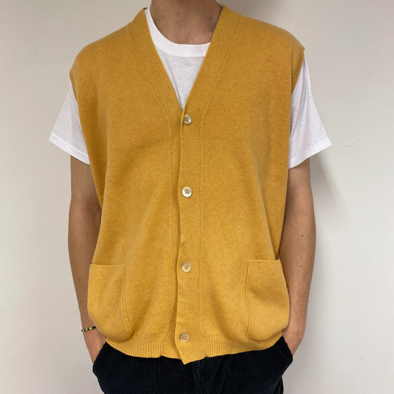 Men's Vintage Mustard Sleeveless Cardigan Large