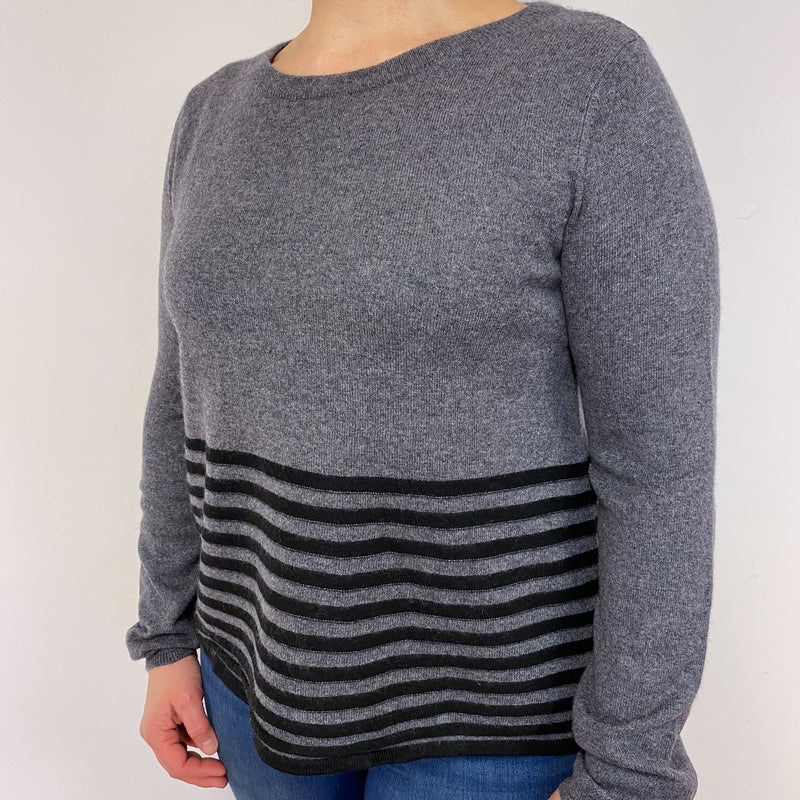 Slate Grey and Black Stripe Crew Neck Jumper Large