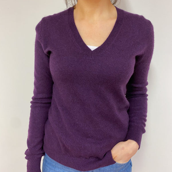 Aubergine V Neck Jumper Small
