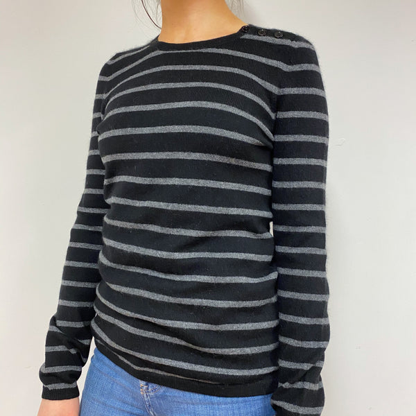 Black and Grey Striped Crew Neck Jumper Small