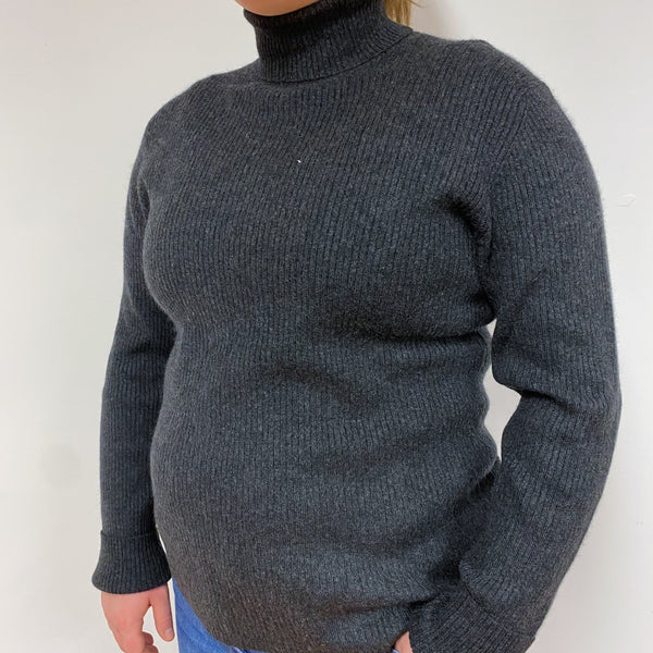 Charcoal Grey Skinny Rib Polo Neck Jumper Large