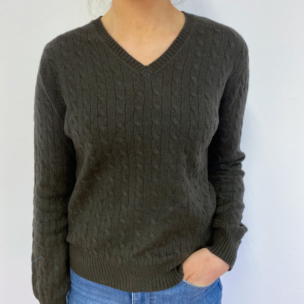 Khaki Cable Knit V Neck Jumper Small