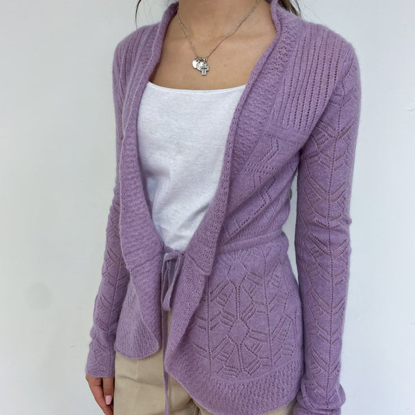 Lavender Tie Detailed Lace Knit Cardigan Extra Small