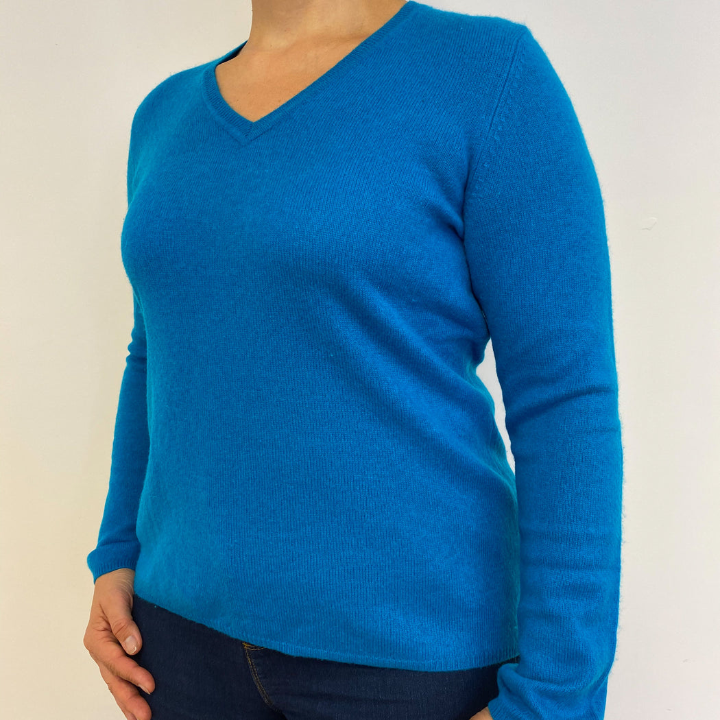 Olympic Blue V Neck Jumper Large