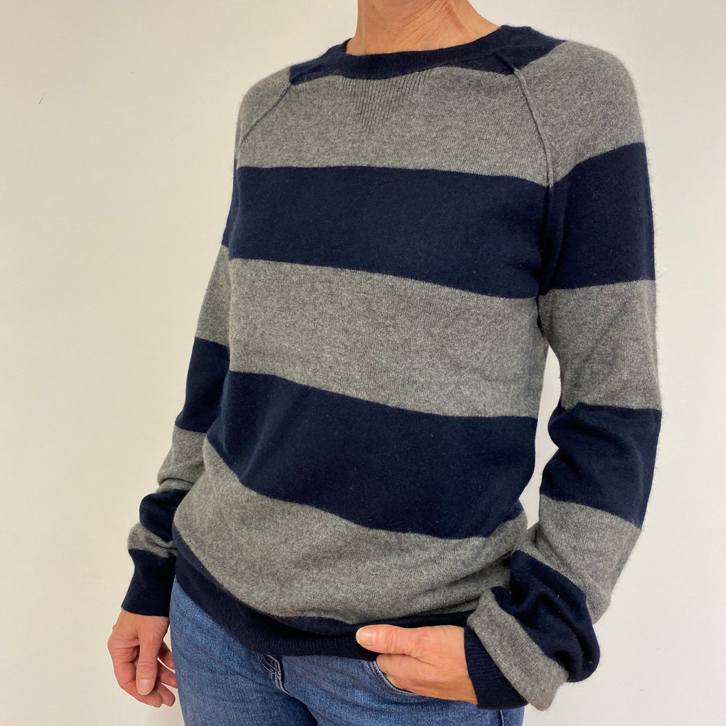 Loose Style Grey/Navy Striped Crew Neck Jumper Medium