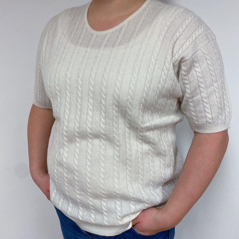 Winter White Cable Knit Crew Neck Tee Large
