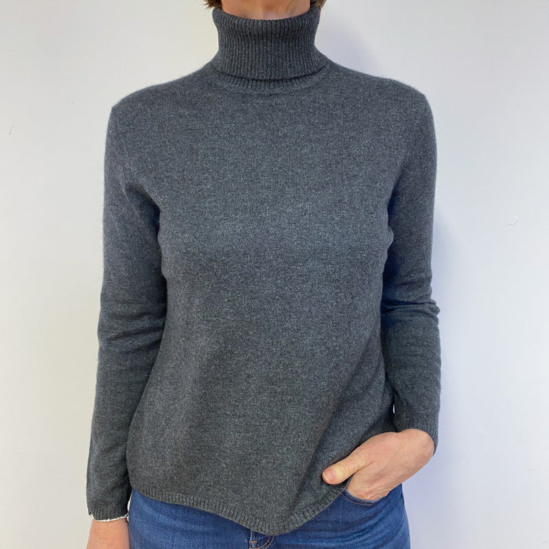 Charcoal Grey Polo Neck Jumper Medium