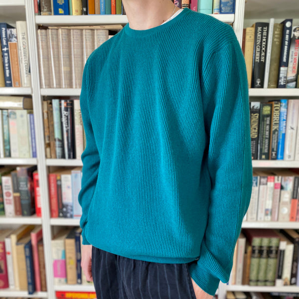 Men's Limited Edition Peacock Green Ribbed Crew Neck Jumper Large