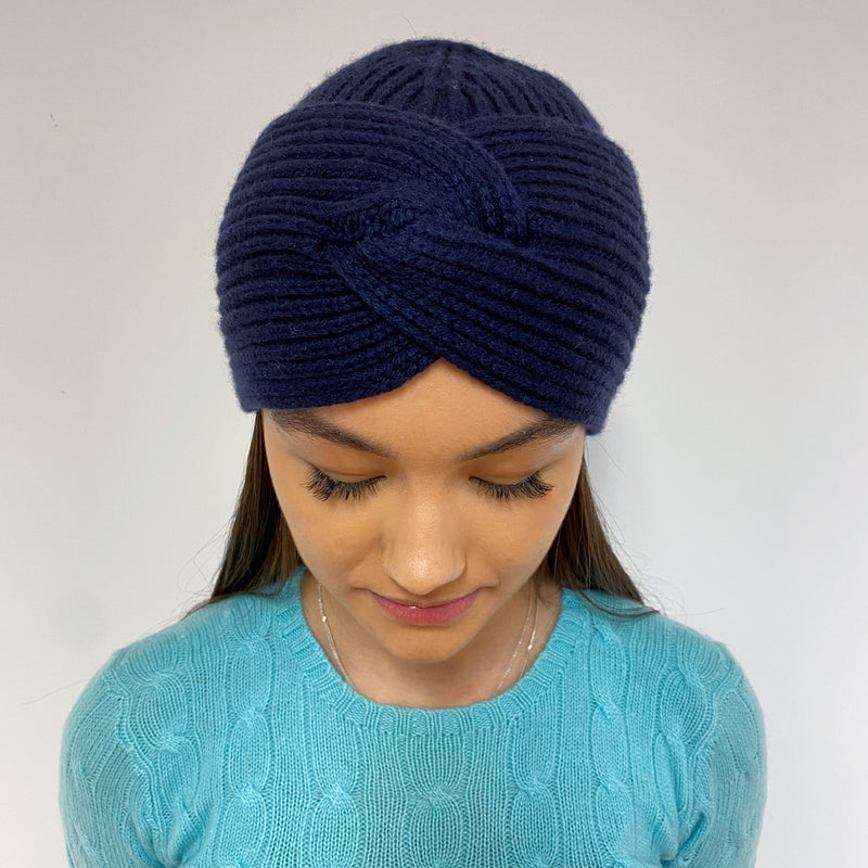 Brand New Navy Cable Knit Turban Beanie Hat One Size
