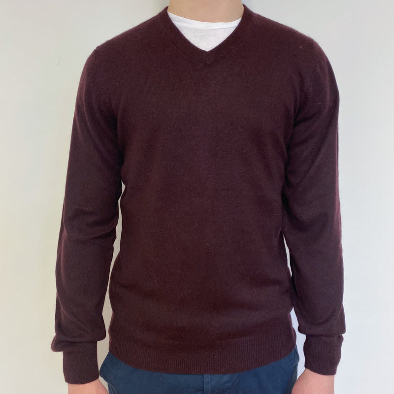 Men's Dark Aubergine V Neck Jumper Small