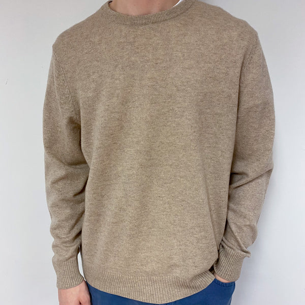 Men's Soft Oatmeal Crew Neck Jumper Extra Large
