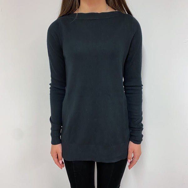 Black Boat Neck Tunic Style Jumper Extra Small