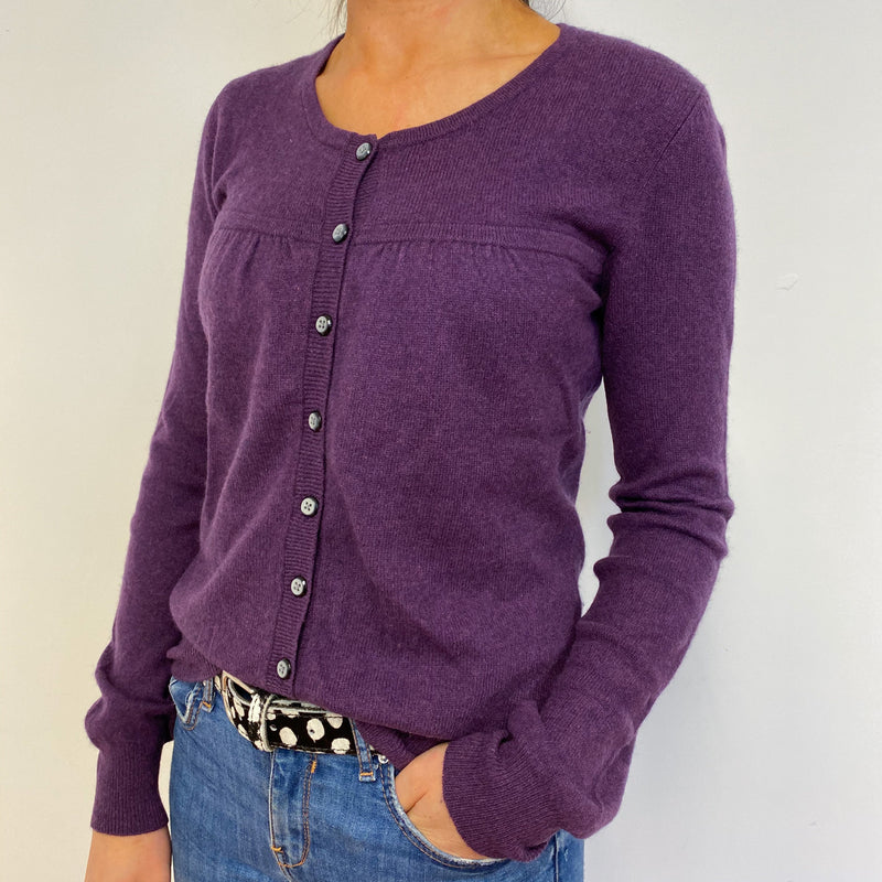 Purple Marl Crew Neck Buttoned Cardigan Small