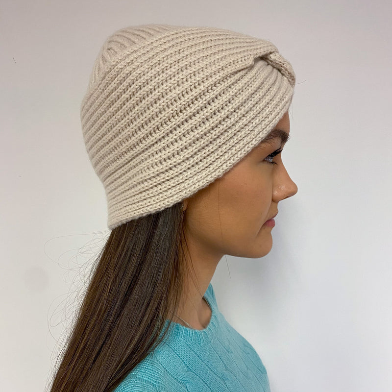 Brand New Oatmeal Cable Knit Turban Beanie Hat One Size