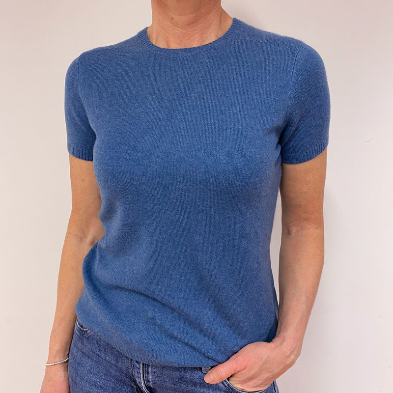 Denim Blue Short Sleeve Crew Neck Top Medium