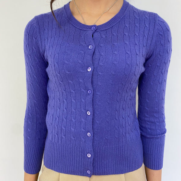 Bluebell Cable Knit Crew Neck Cardigan Extra Small