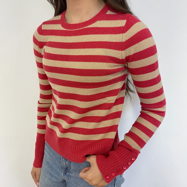 Hot Pink and Oatmeal Stripe Crew Neck Jumper Extra Small