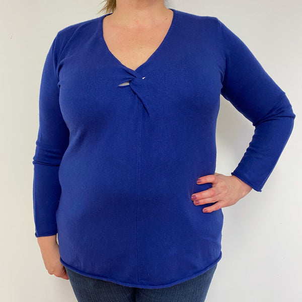 French Navy V Neck Jumper Extra Large