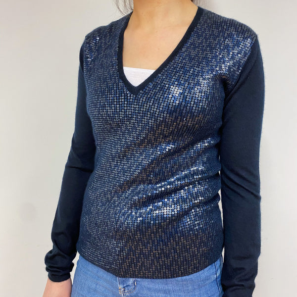 Midnight Blue Sequin V Neck Jumper Small
