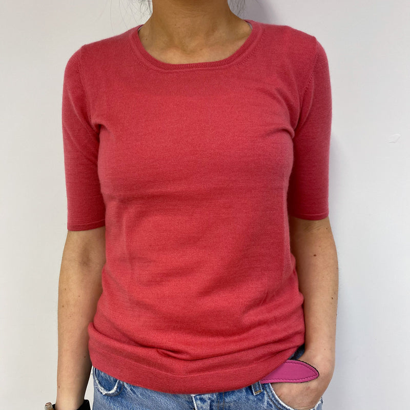 Rose Pink Superfine Crew Neck Tee Small