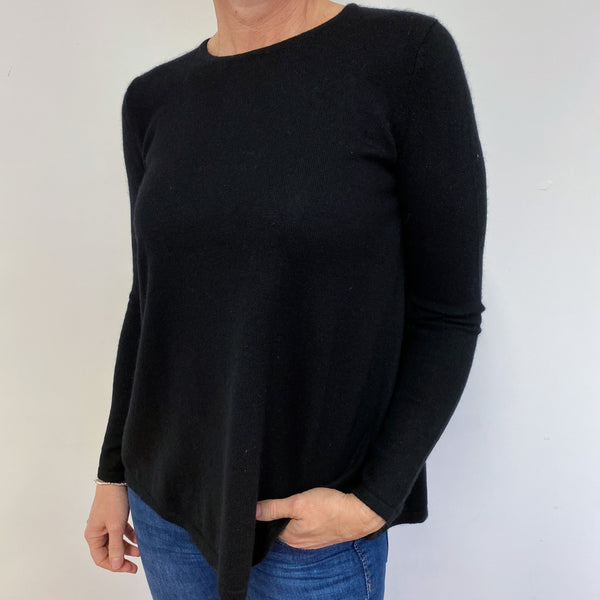 Black Crew Neck Flared Style Jumper Small