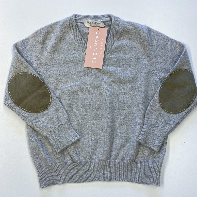 Children's Age 6-7 Pale Grey V Neck Jumper With Elbow Patches