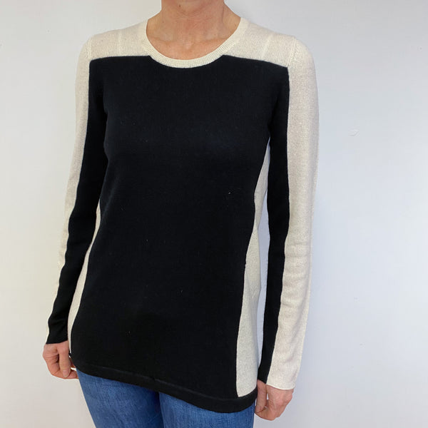 Black and Cream Colour Block Crew Neck Jumper Medium
