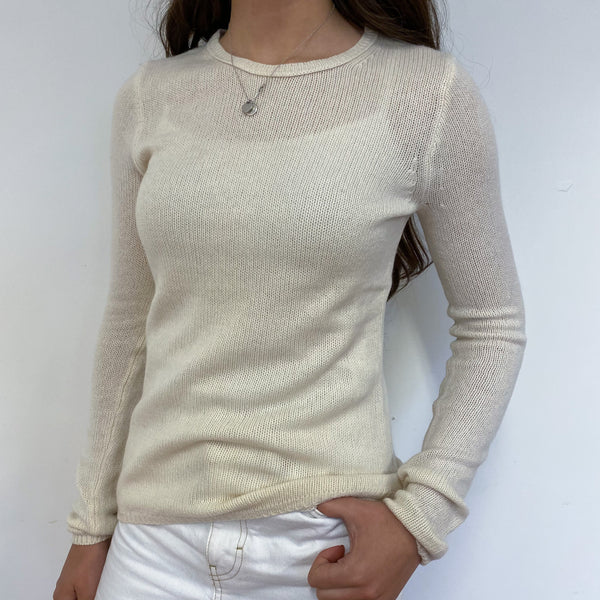 Ivory White Crew Neck Lightweight Jumper Extra Small