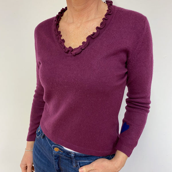 Plum Frilled Heart V Neck Jumper Medium