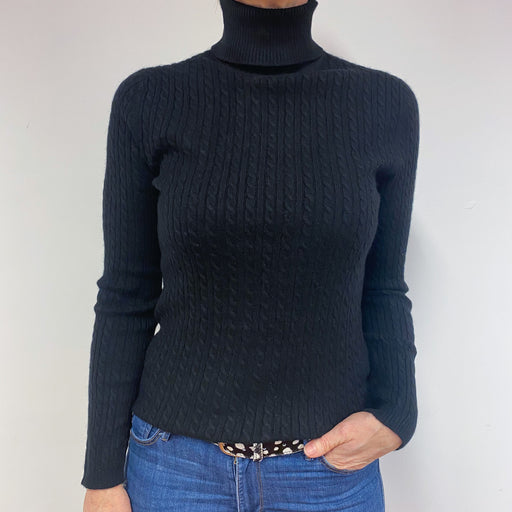 Black Chunky Cable Knit Polo Neck Jumper Medium