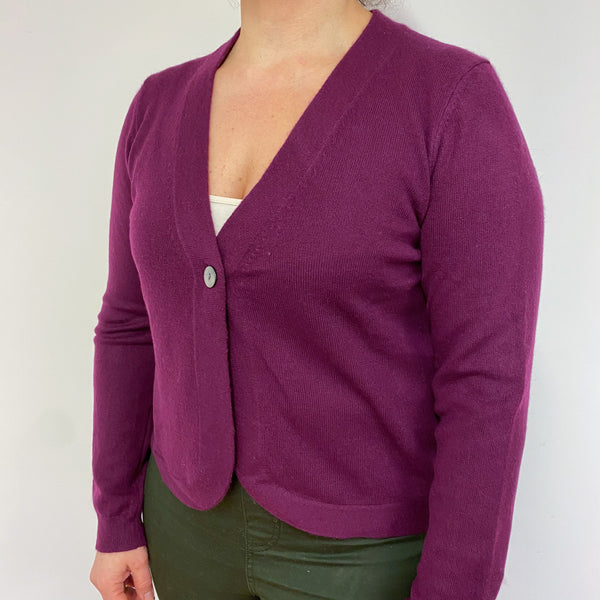 Mulberry Purple V Neck Single Button Cardigan Large