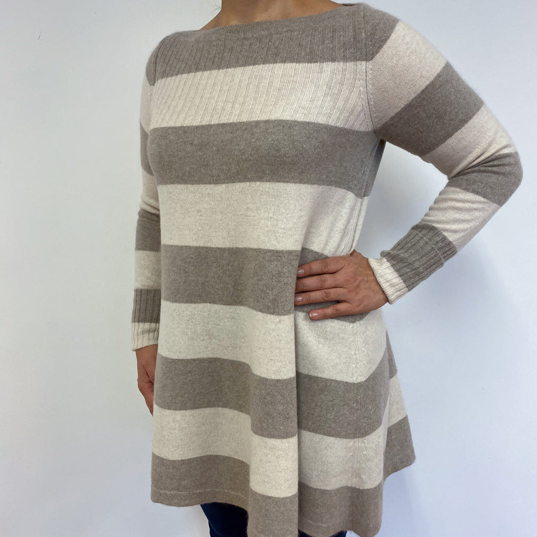Cream and Camel Striped Crew Neck Tunic Large