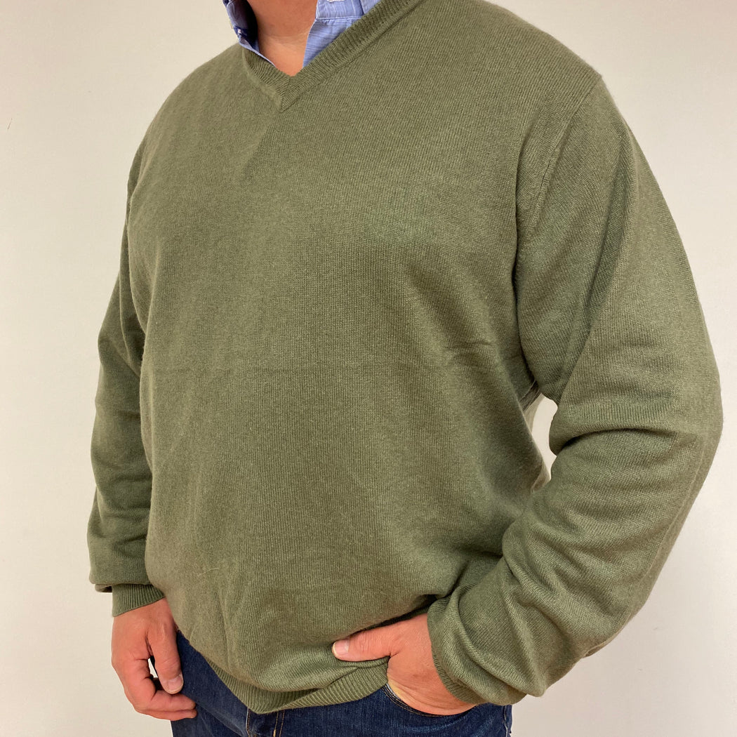 Men's Khaki Green V-Neck Jumper XXL